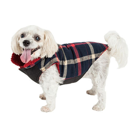 Pet Life  'Allegiance' Classical Plaided Insulated Dog Coat Jacket, Large , Blue