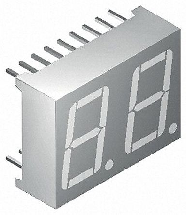 Kingbright DC56-11SURKWA  2 Digit 7-Segment LED Display, CC Red 85 mcd RH DP 14.2mm (4)