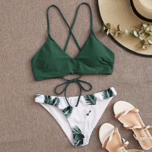 Bikini Badeanzug mit Palme Muster und Band hinten