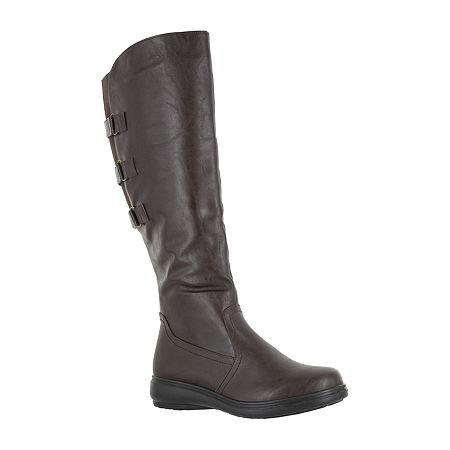 Easy Street Womens Presley Riding Boots Wedge Heel, 9 Medium, Brown