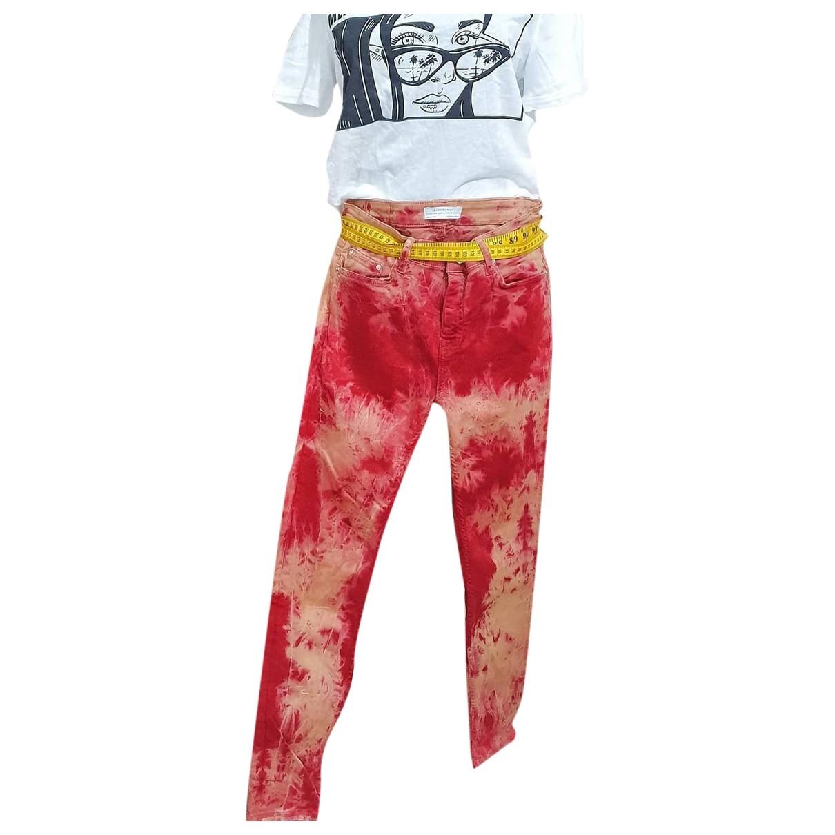 Zara \N Burgundy Cotton Jeans for Women 38 FR