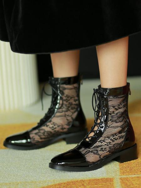 Milanoo Plaza de encaje Botas de verano negro del dedo del pie ata para arriba los cargadores para las mujeres Ankel