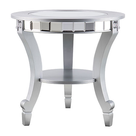 Emas Mirrored Round End Table, One Size , Silver