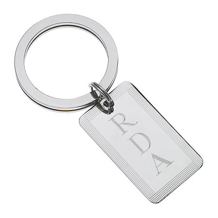 Personalized Rectangular Key Chain, One Size , Silver