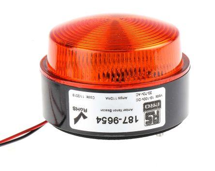 RS PRO Amber Xenon Beacon, 10 → 100 V dc, 20 → 72 V ac, Flashing, Stud Mount, Surface Mount