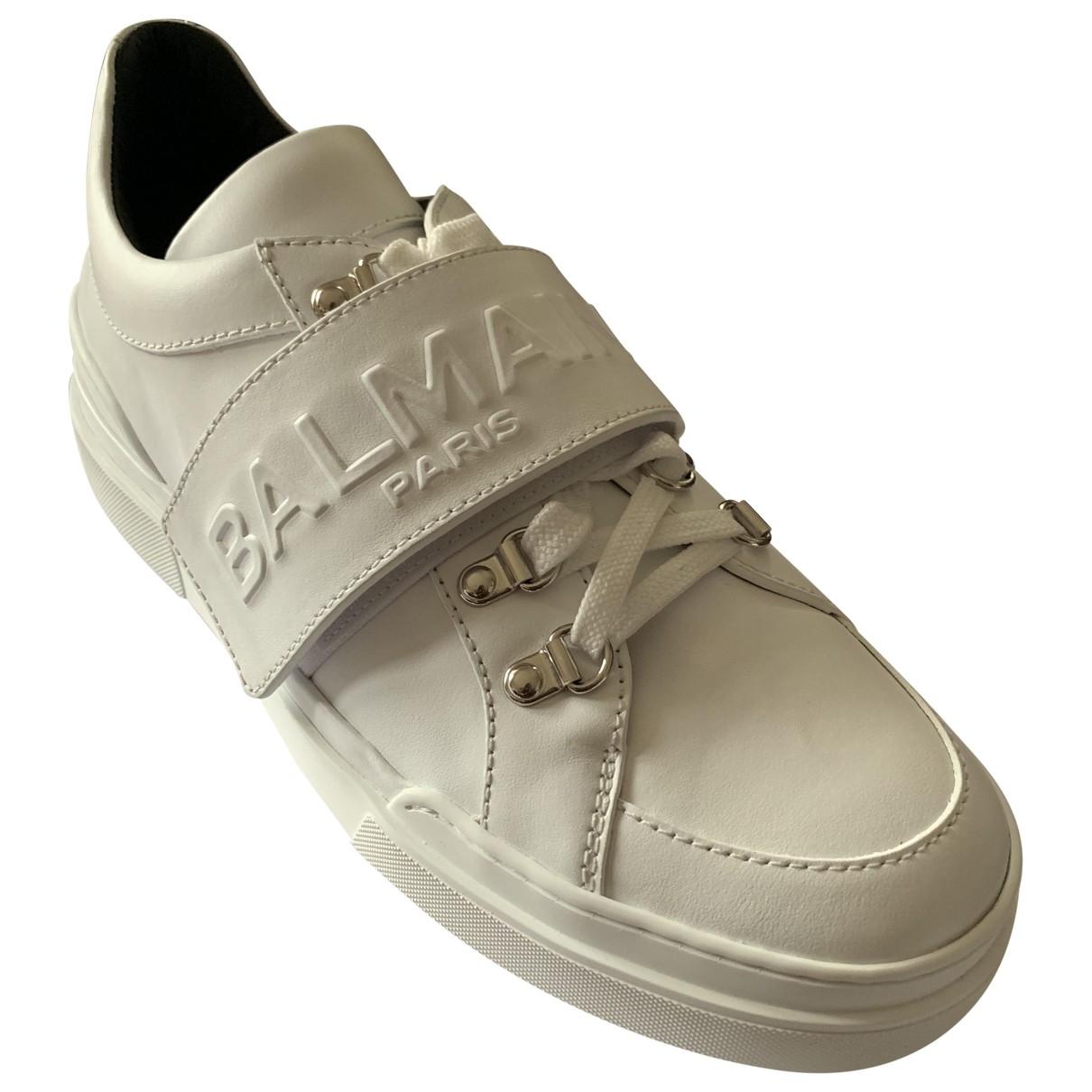 Balmain \N White Leather Trainers for Men 42 EU