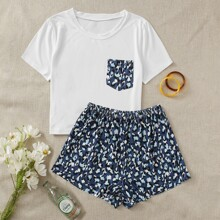 Pocket Patched Tee With Graphic Print Shorts PJ Set