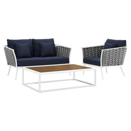 Stance Collection EEI-3171-WHI-NAV-SET 3 PC Outdoor Patio Aluminum Sectional Sofa Set in White Navy