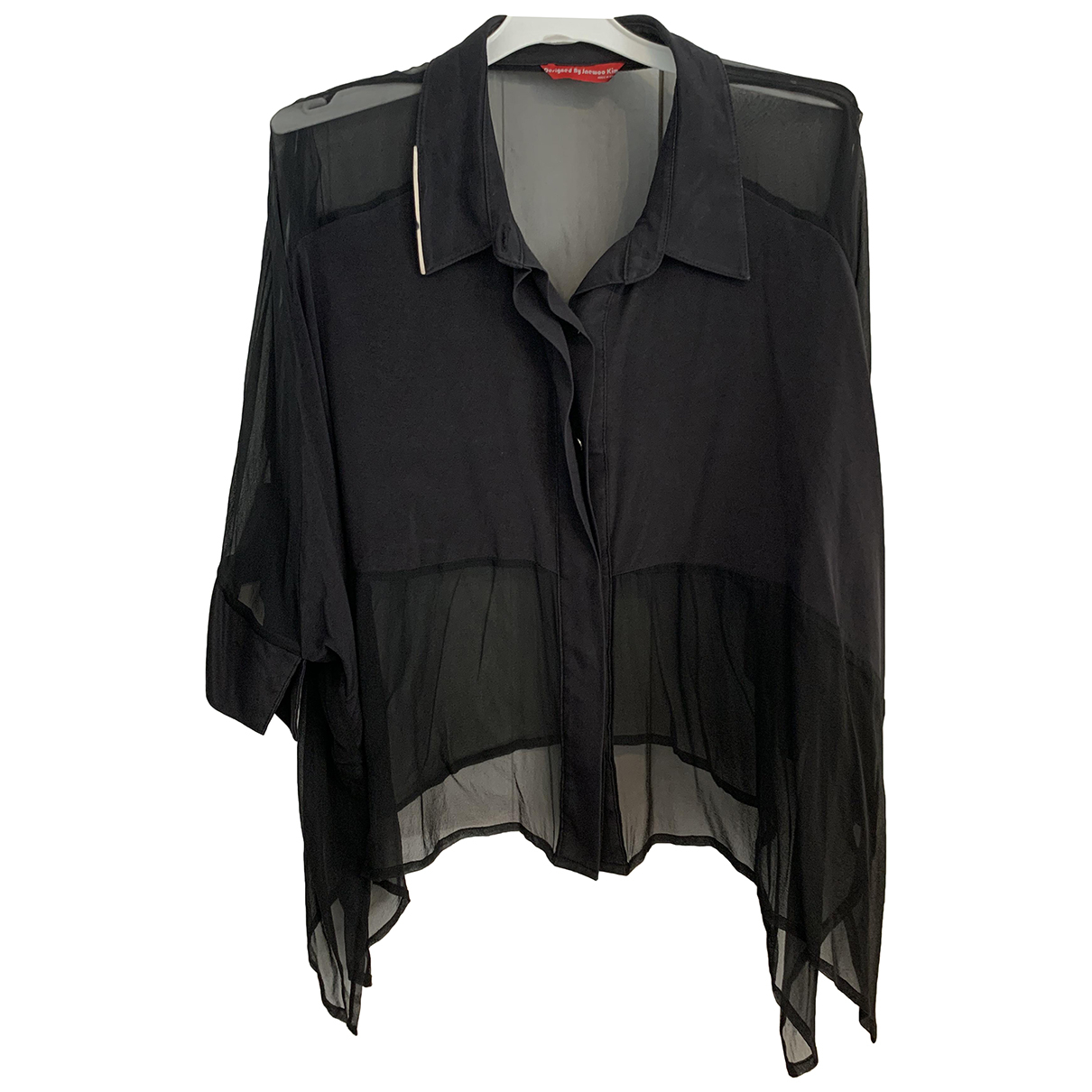 Non Signé / Unsigned N Black Silk  top for Women L International