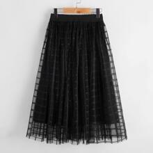 Girls Elastic Waist Plaid Mesh Flare Skirt