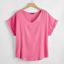 Plus V Neck Batwing Sleeve Top
