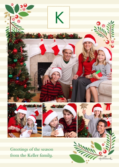 Christmas Photo Cards 5x7 Cards, Premium Cardstock 120lb with Scalloped Corners, Card & Stationery -Classic Holly Monogram