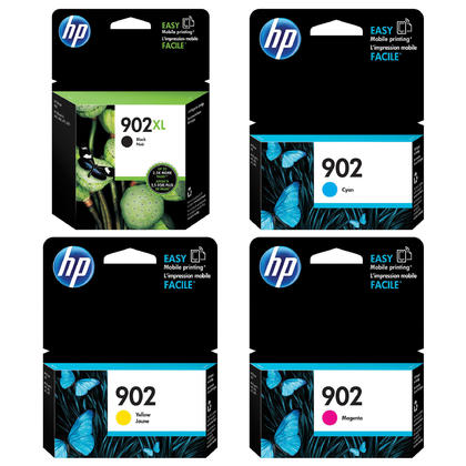 HP 902XL Black High Yield & HP 902 Cyan Magenta Yellow Original Ink Cartridge Combo BK/C/M/Y
