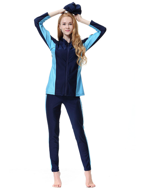 Milanoo Women Burkini Long Sleeve Stand Collar Two Tone 3 Piece Muslim Swimsuit Beach Bathing Suit