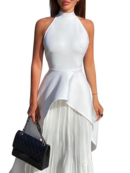 Milanoo Sistema de dos piezas Maxi vestidos sin mangas de color Negro Bloque cuello de la joya de poliester vestido largo