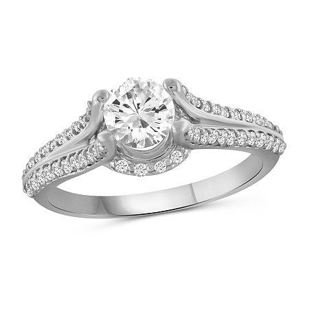 Womens 1 3/4 CT. T.W. White Cubic Zirconia Sterling Silver Engagement Ring, 7 , No Color Family