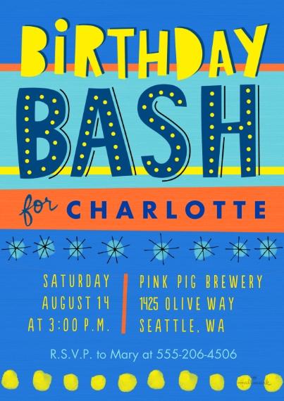 Birthday Party Invites 5x7 Cards, Standard Cardstock 85lb, Card & Stationery -Birthday Bash