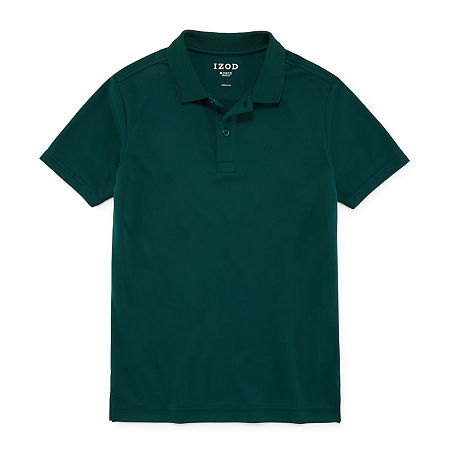 IZOD Performance Mesh Little & Big Boys Short Sleeve Wrinkle Resistant Moisture Wicking Polo Shirt, Small , Green