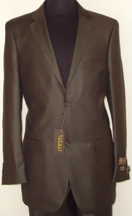 Mens Designer 2Button Shiny Dark Brown Sharkskin Suit