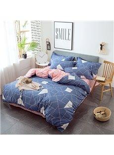 Classic Geometric Design Blue 4-Piece Cotton Bedding Sets/Duvet Covers