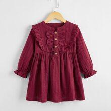 Toddler Girls Button Front Ruffle Smock Dress