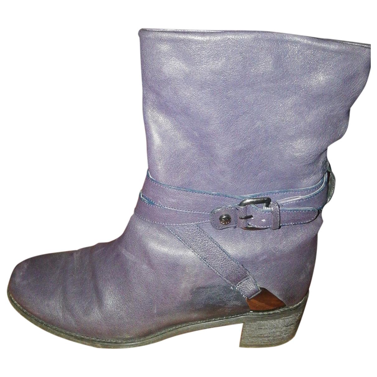 Stuart Weitzman - Boots   pour femme en cuir - marine