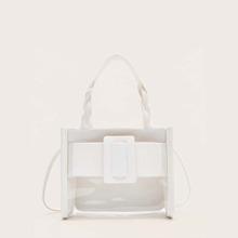 Buckle Decor Clear Satchel Bag