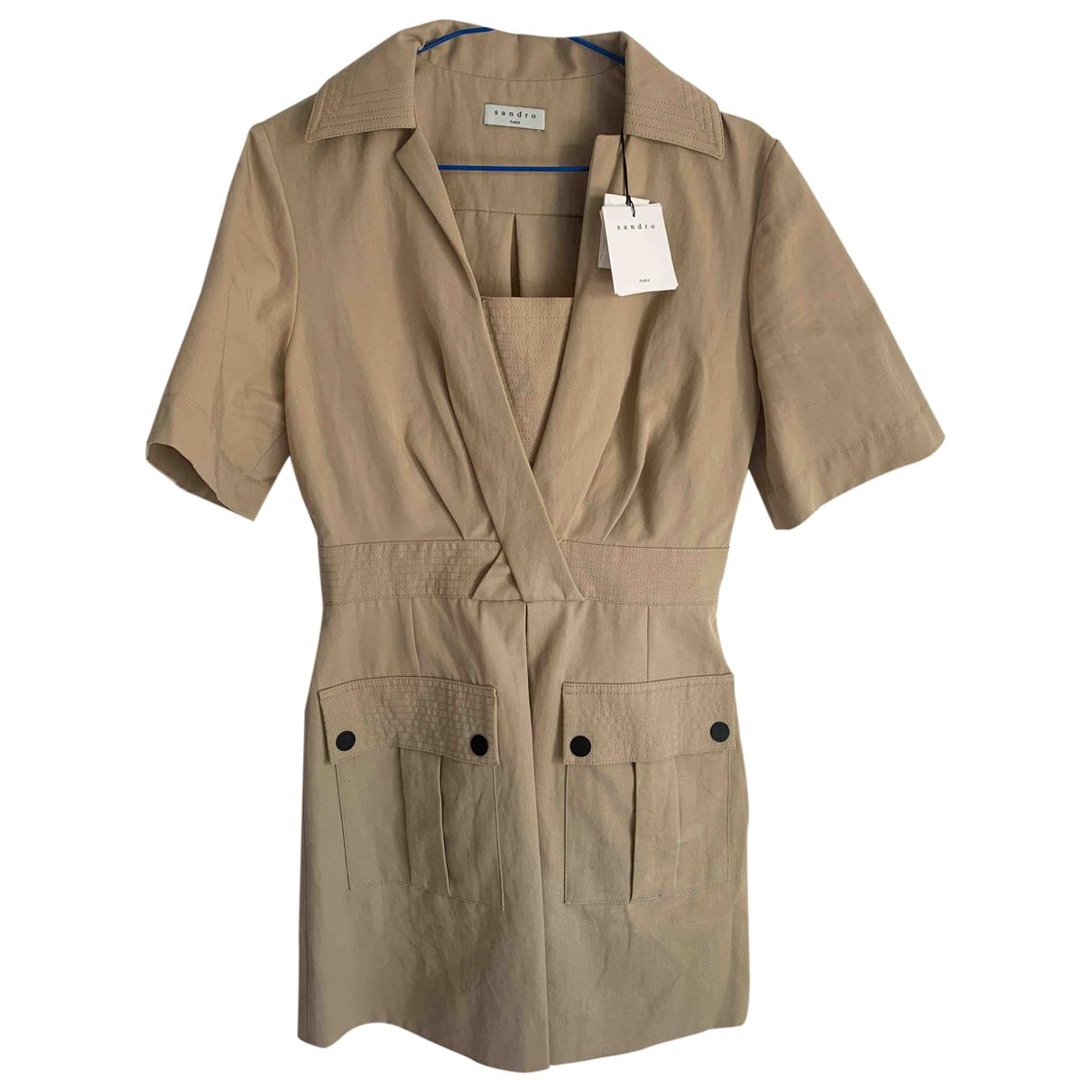 Sandro \N Beige Cotton dress for Women 36 FR