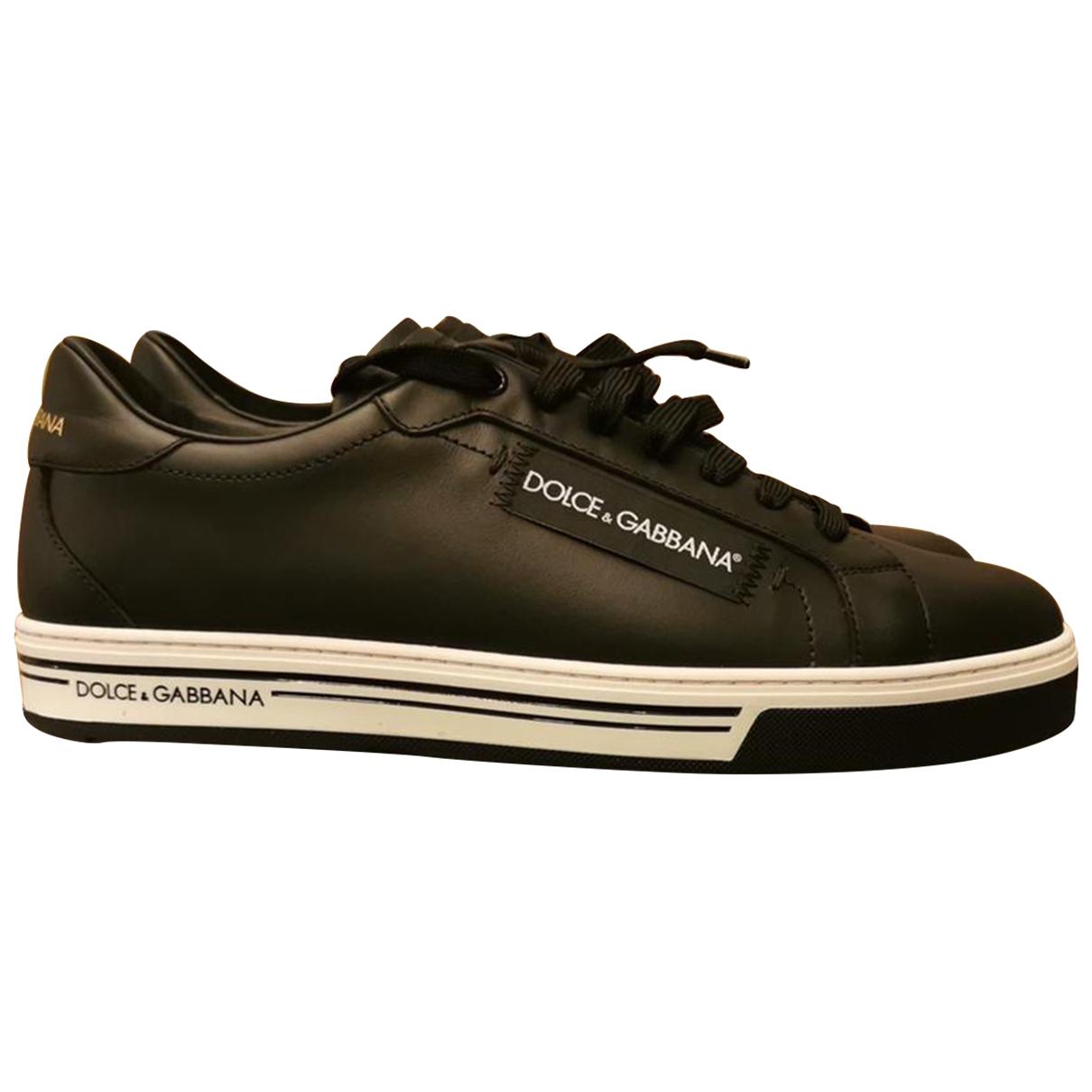 Dolce & Gabbana - Baskets   pour homme en cuir - noir