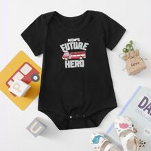 Baby Boy Bus And Letter Graphic Bodysuit