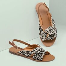 Leopard Knot Open Toe Slingback Sandals