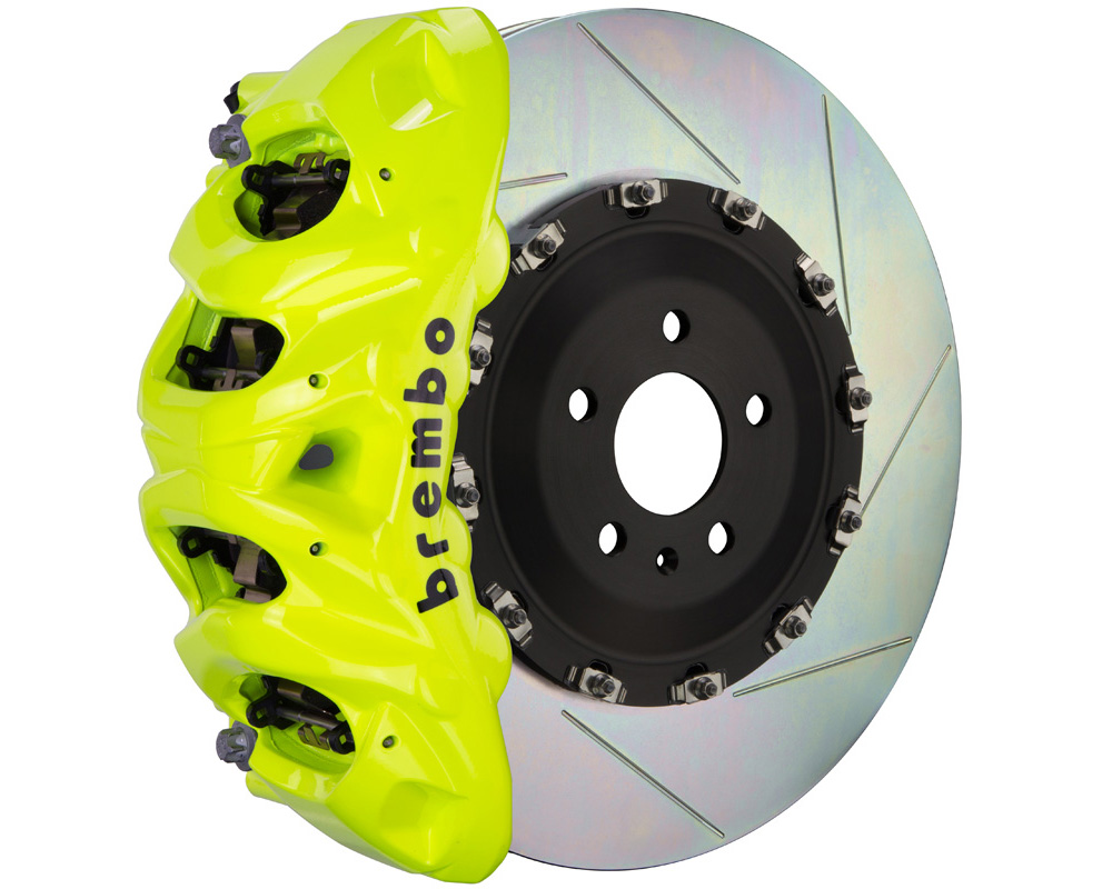 Brembo GT 412x38 2-Piece 8 Piston Fluo. Yellow Slotted Front Big Brake Kit