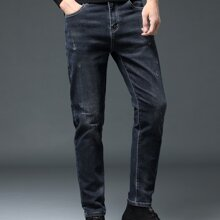 Men Slant Pocket Ripped Straight Leg Jeans