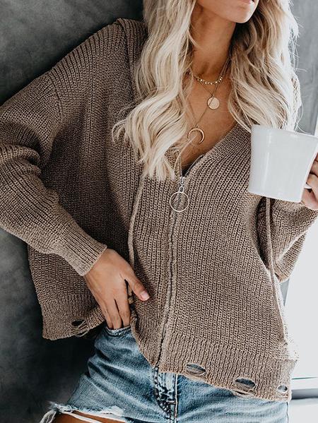 Yoins Zip Front Hooded Design Long Sleeves Cardigan