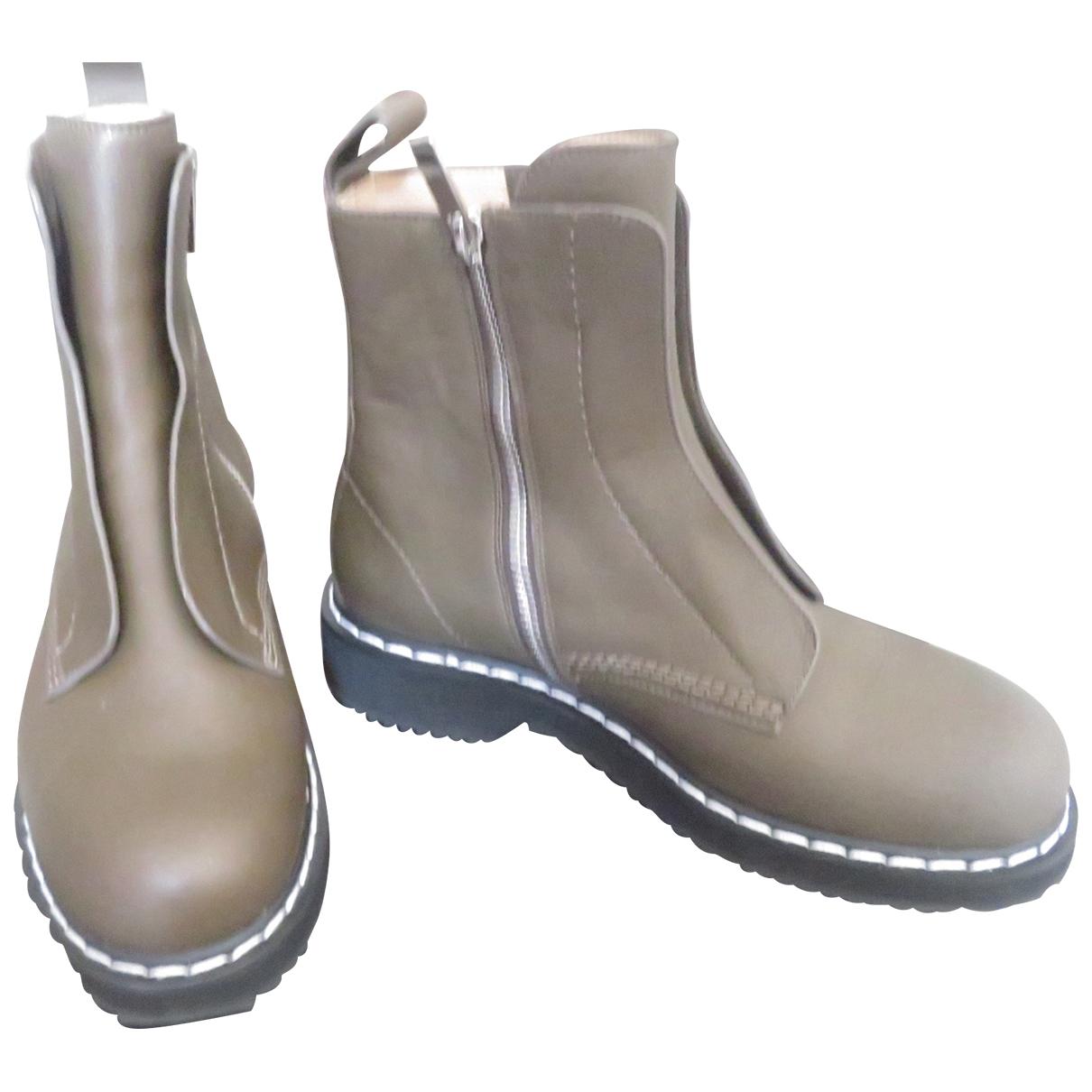 Jil Sander \N Khaki Leather Ankle boots for Women 37 EU