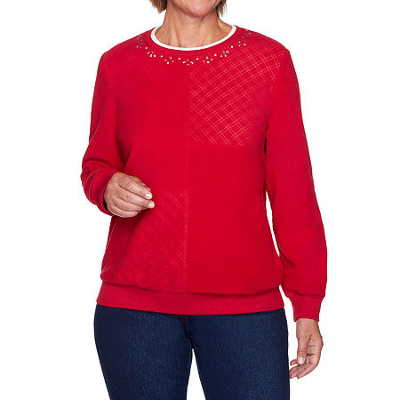 Alfred Dunner Classics Womens Crew Neck Long Sleeve Sweatshirt, X-large , Red