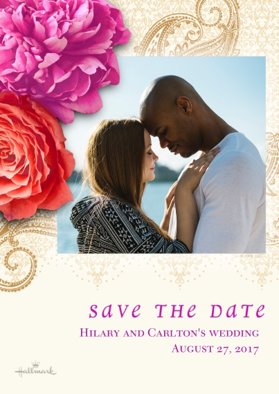 Save the Date 5x7 Cards, Premium Cardstock 120lb with Elegant Corners, Card & Stationery -Photographic Floral Save the Date