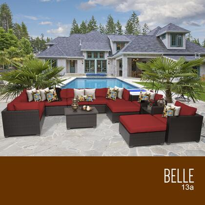 BELLE-13a-TERRACOTTA Belle 13 Piece Outdoor Wicker Patio Furniture Set 13a with 2 Covers: Wheat and