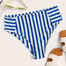 Bikini Unterhose mit Streifen und hoher Taille