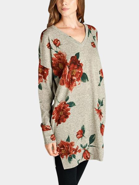 Yoins Khaki Random Floral Print V-neck Long Sleeves Slit Hem Tee With Slip Pockets