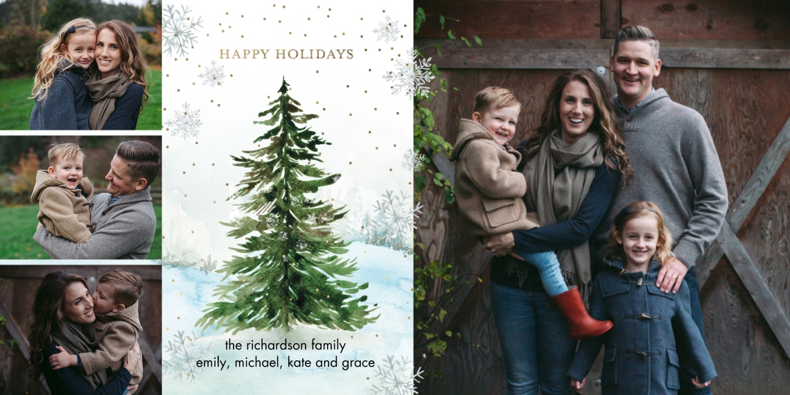 Holiday Photo Cards 4x8 Flat Card Set, 85lb, Card & Stationery -Holiday Scattered Snowflakes by Tumbalina