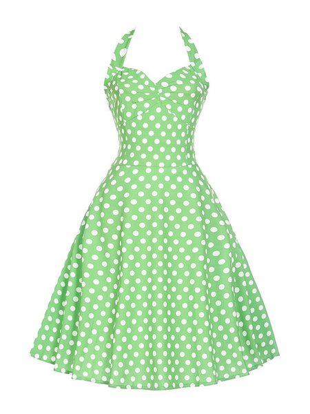Milanoo Summer Midi Dress Pink Polka Dot Vintage Dress Halter Lace Up Sweetheart Swing Dress