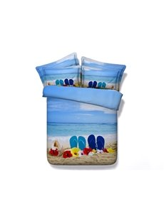 3D Slippers on the Beach Printed 5-Piece Comforter Sets