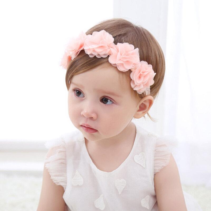 Flower Patchwork Elastic Baby Girls Headband For 0-24M