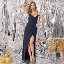Glitter Surplice Front Cami Prom Dress
