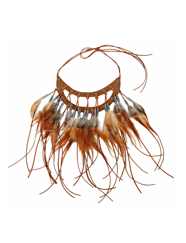 Kostuemzubehor Halskette Indianer mit Federn braun