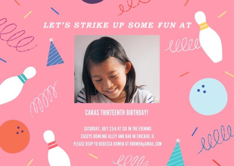 Kids Birthday Party Invites 5x7 Cards, Premium Cardstock 120lb with Rounded Corners, Card & Stationery -Strike Up Fun Invitation Pink