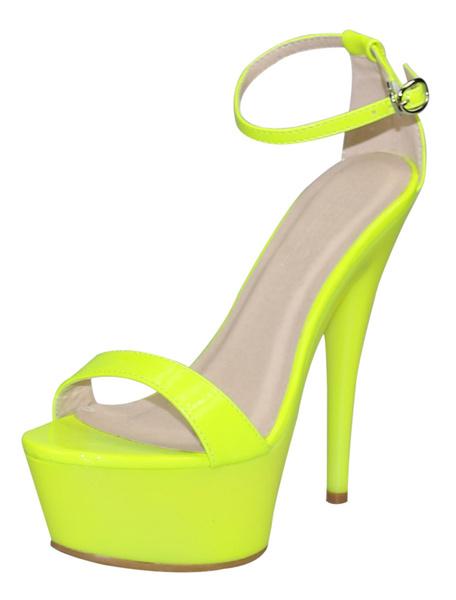 Milanoo Platform Sandals Rose Red Womens Ankle Strap High Heels Sandals