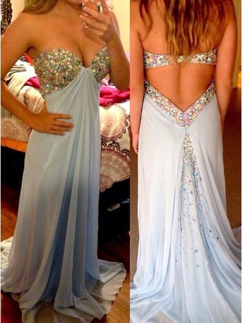Ericdress A-Line Sleeveless Beading Floor-Length Prom Dress