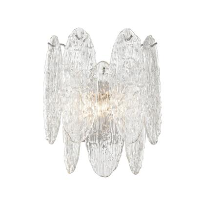 32440/2 Frozen Cascade 2-Light Sconce in Polished Chrome with Clear Textured
